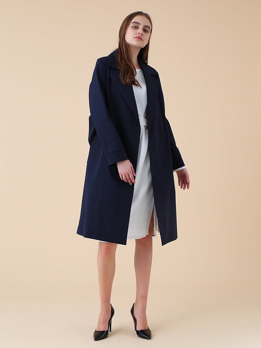 D Ring Spring Coat in Navy by DVF