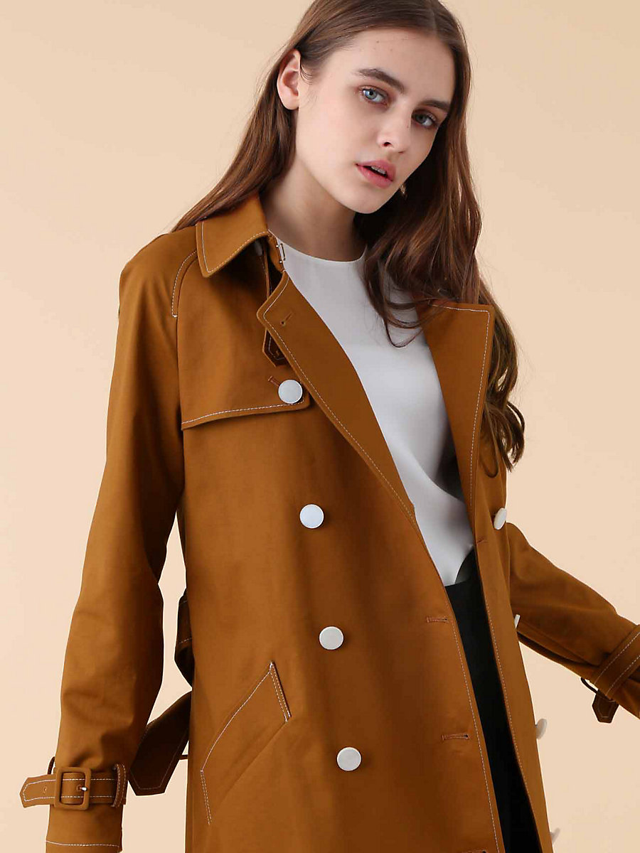 Trench Coat in Brown by DVF