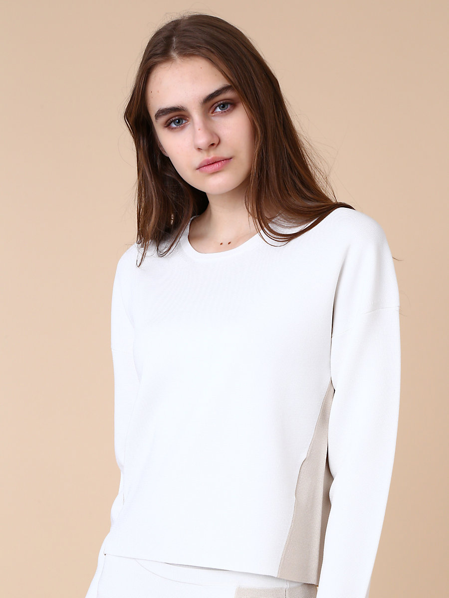 Crewneck Pull Over in White by DVF