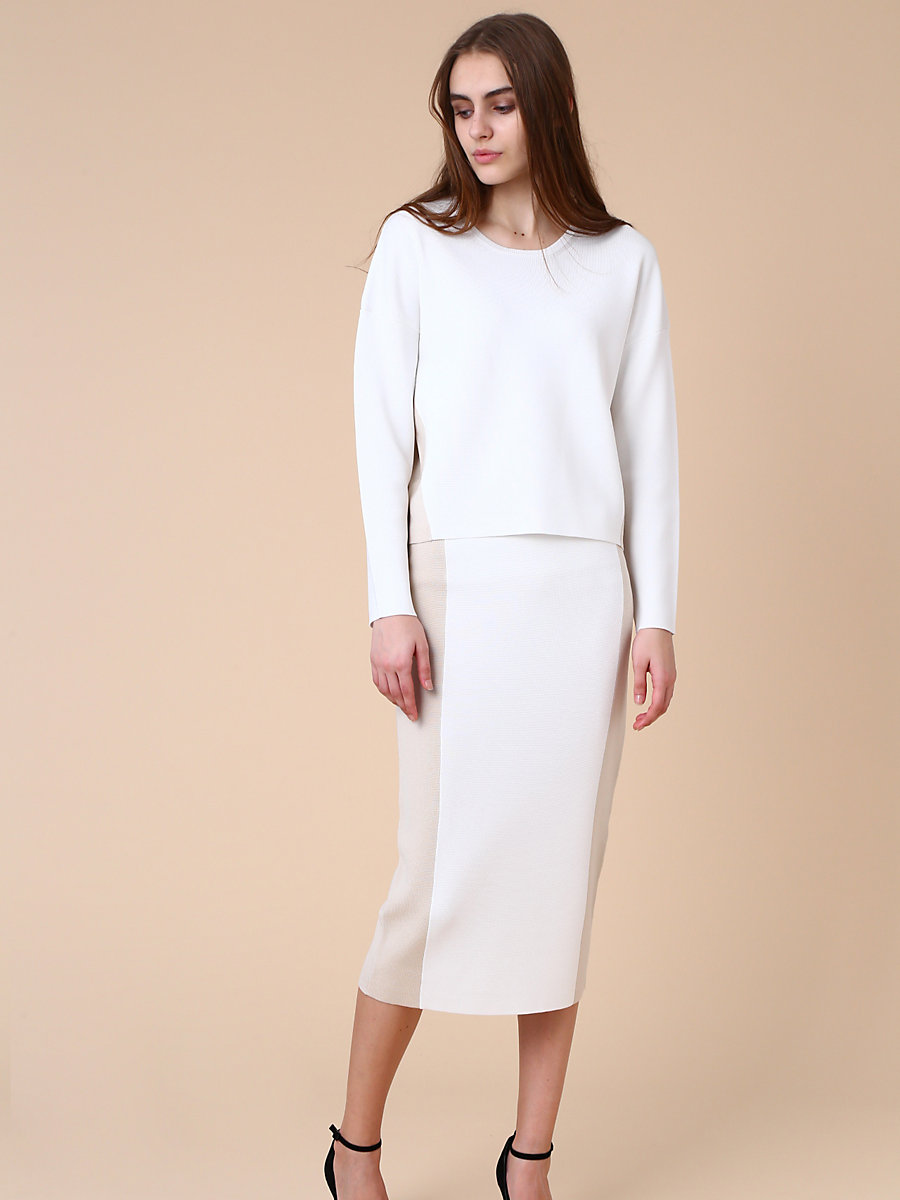 Two Color Tight Skirt in White by DVF