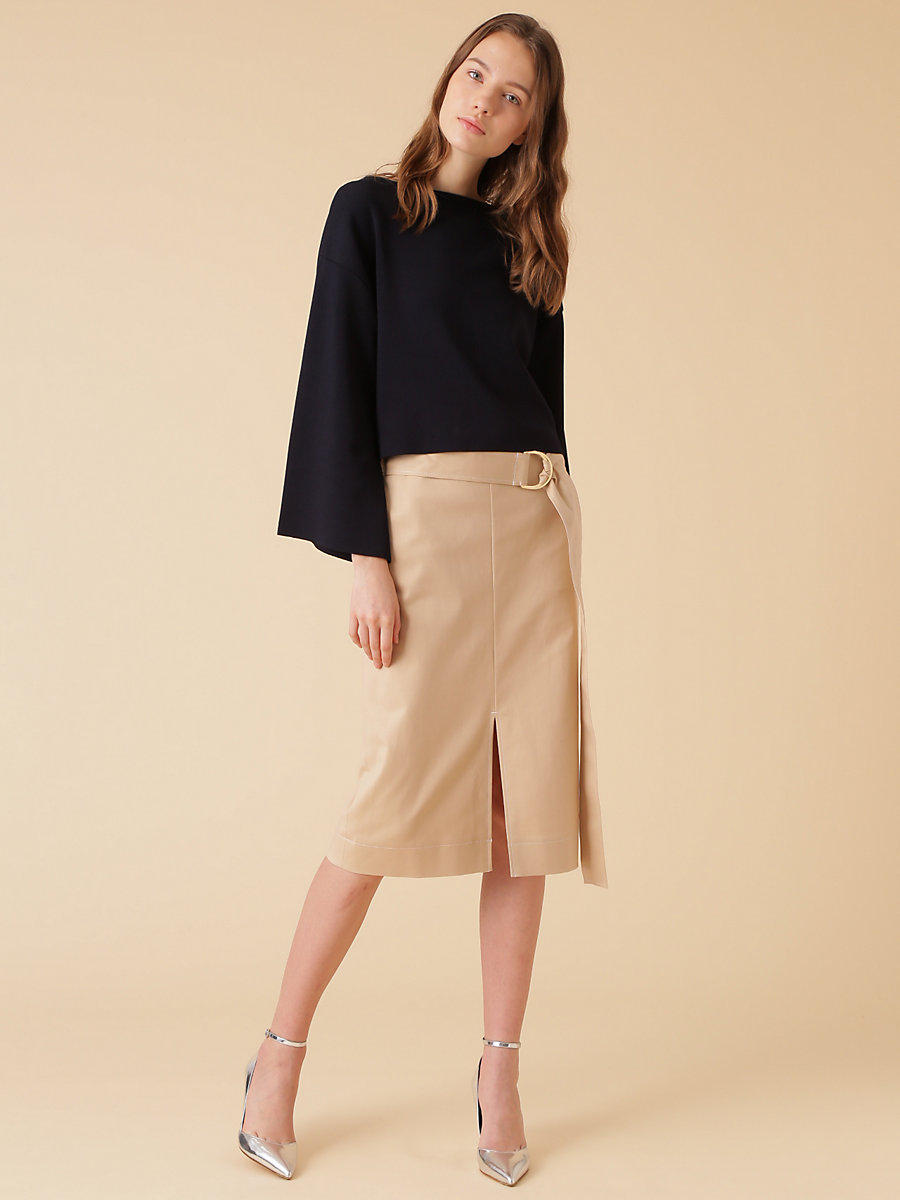 Wide Sleeve Top in Navy by DVF