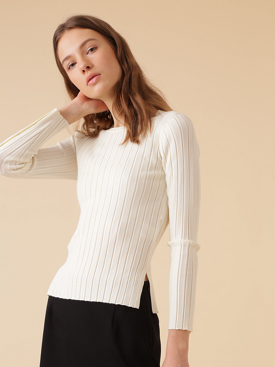 Wide Rib Knit in White by DVF