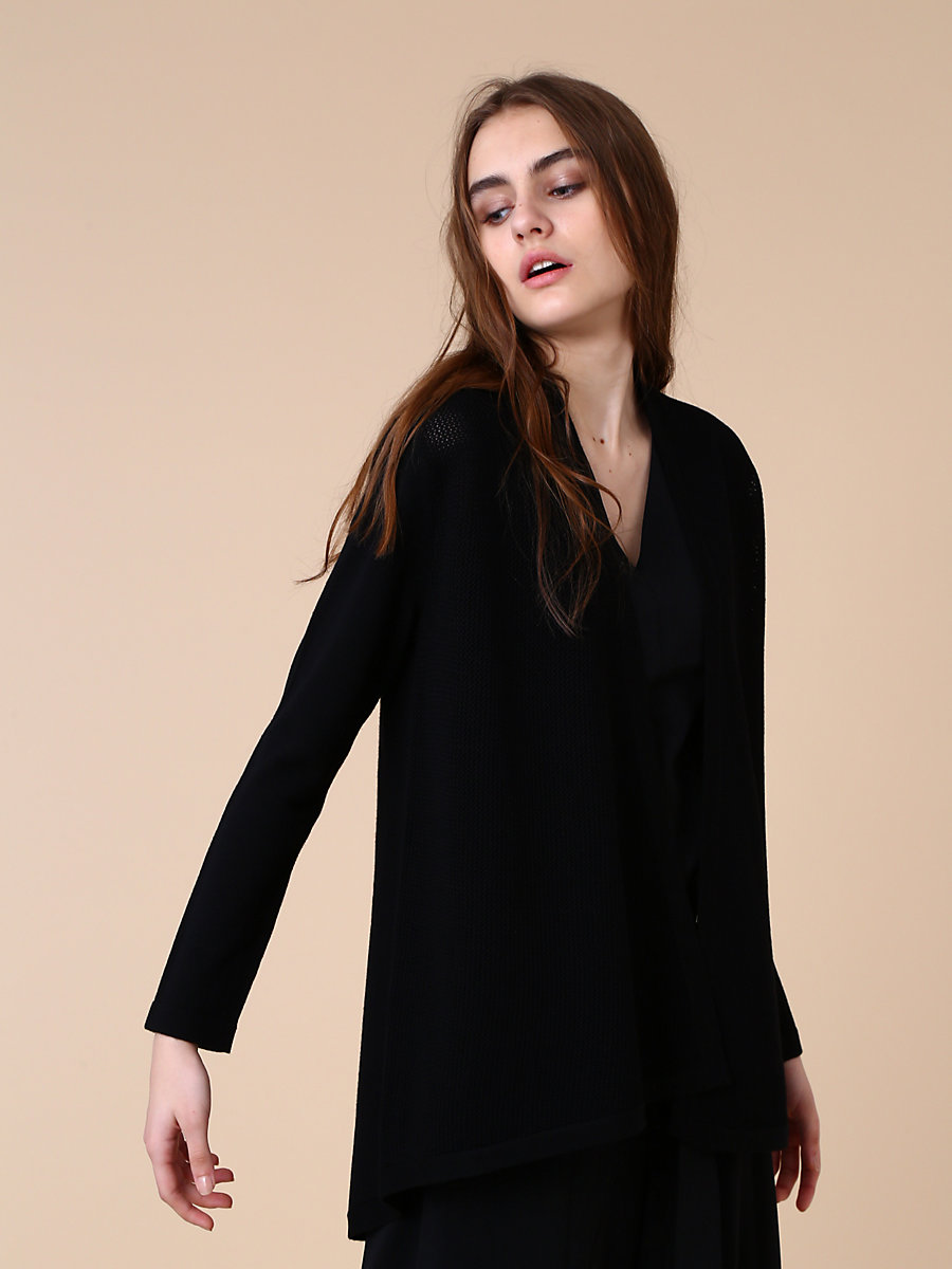 Mid Length Knit Cardigan in Black by DVF