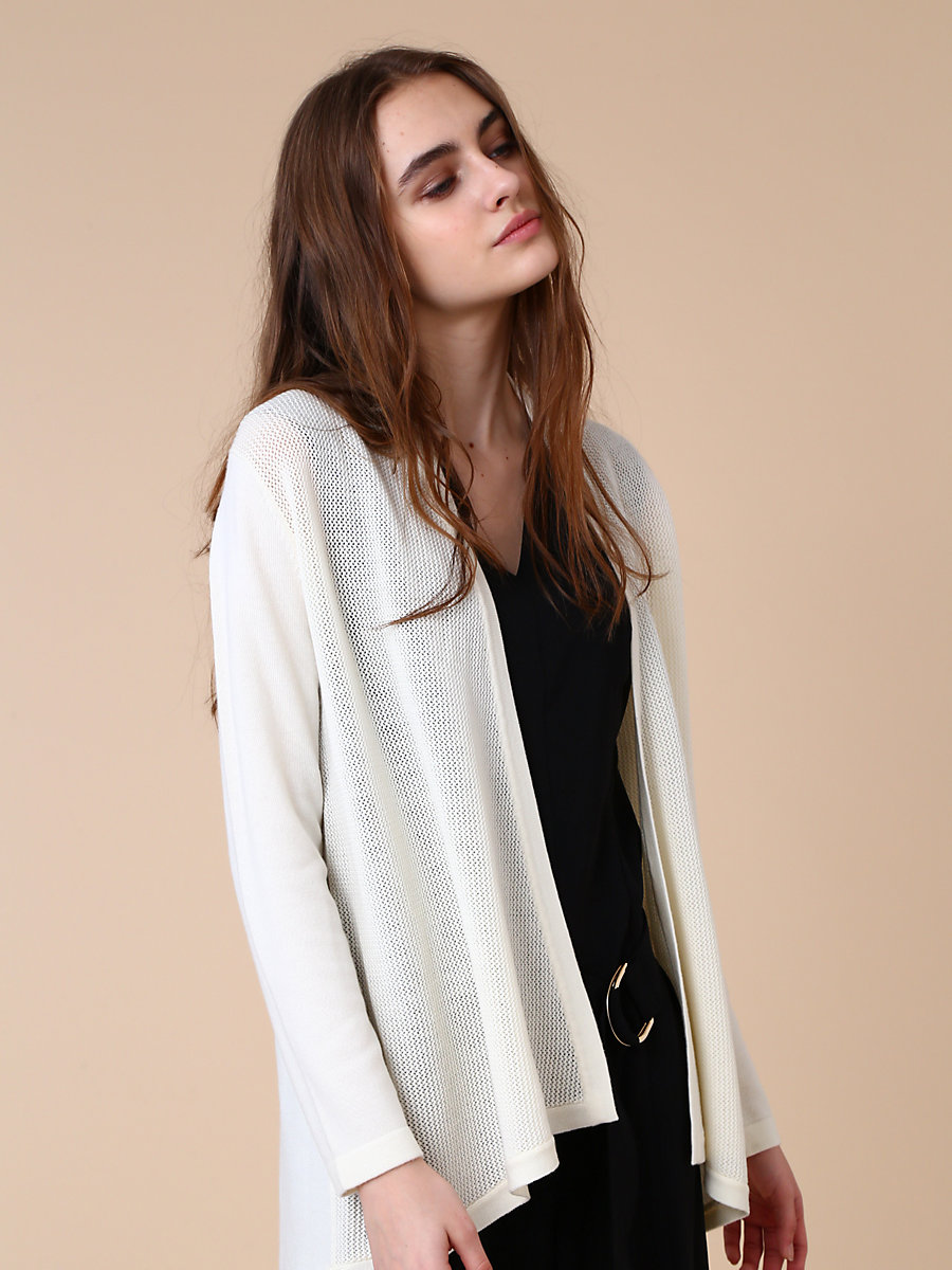 Mid Length Knit Cardigan in White by DVF