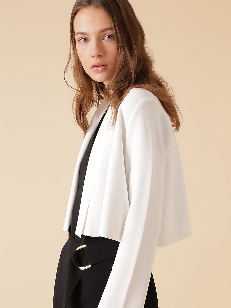 Knit Short Jacket in White by DVF