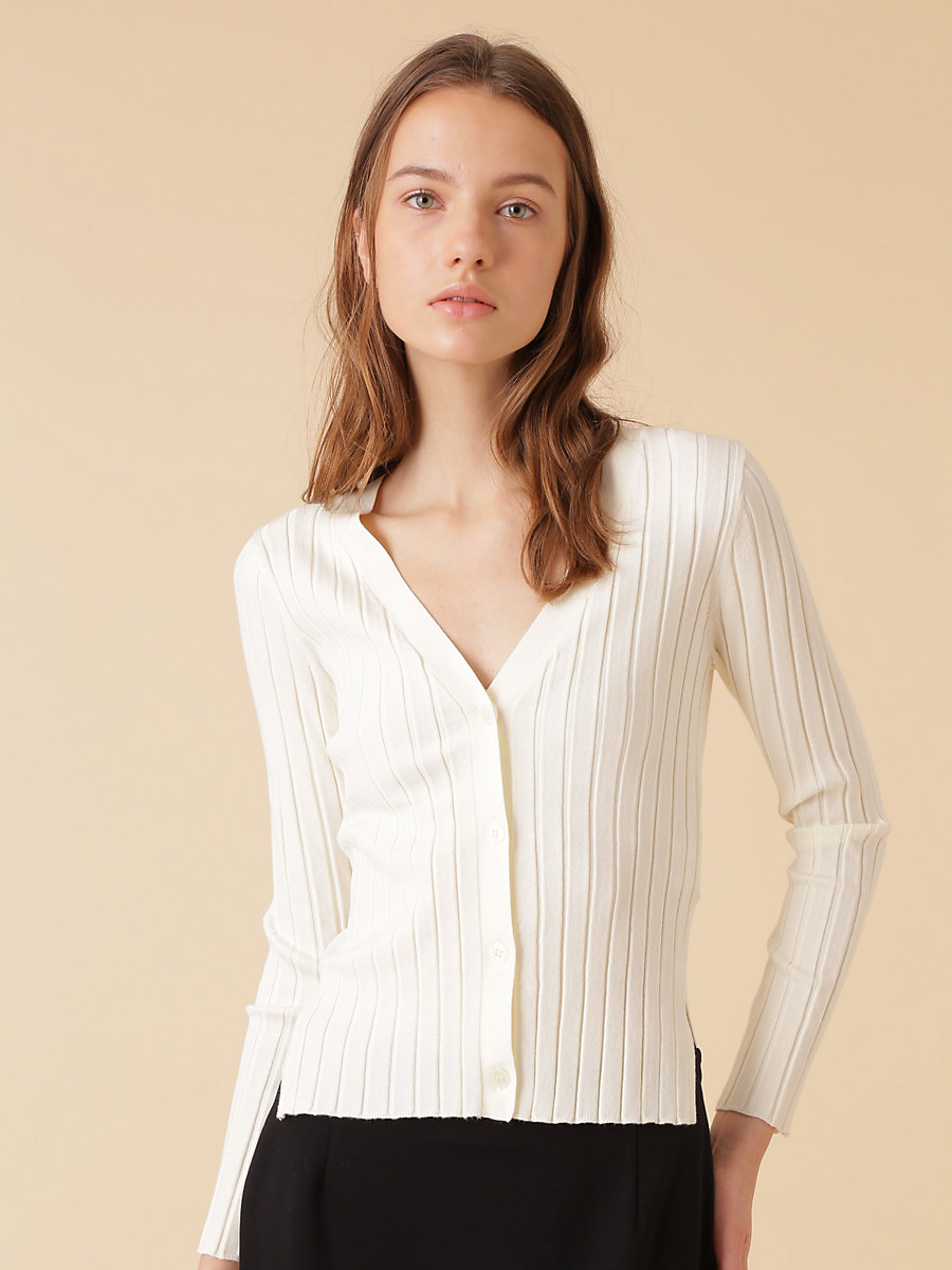 Rib Knit Cardigan in White by DVF