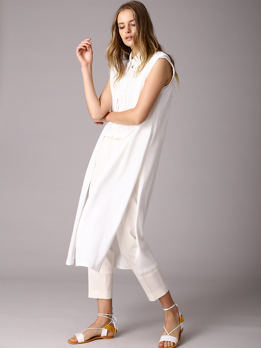 No Sleeve Long Knit Vest in White by DVF