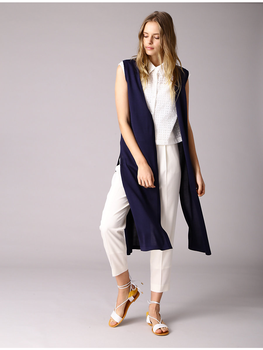 No Sleeve Long Knit Vest in Navy by DVF