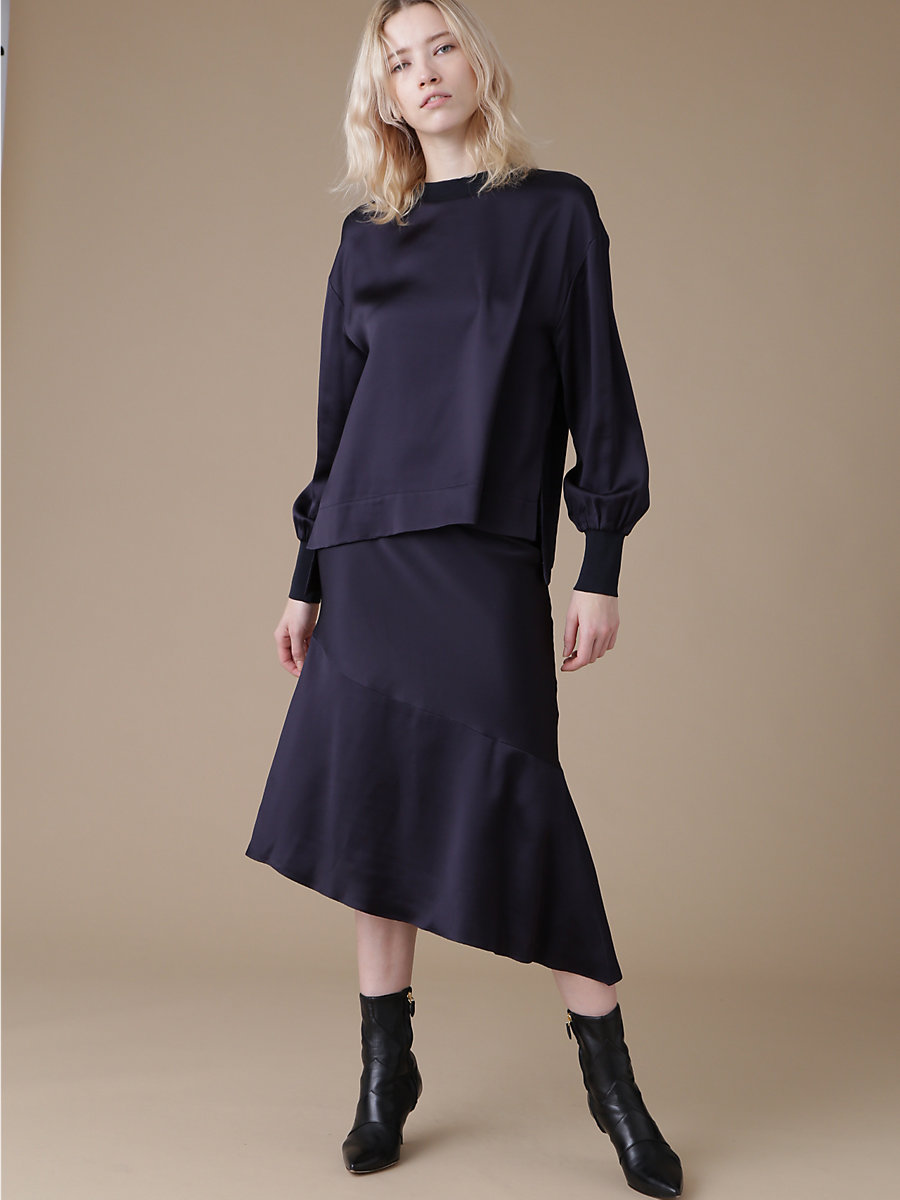 Volume Sleeve Blouse in Navy by DVF