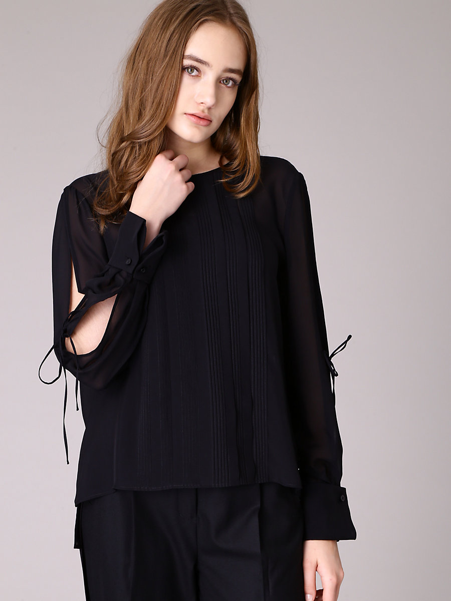 Pin Tuck Blouse in Black by DVF