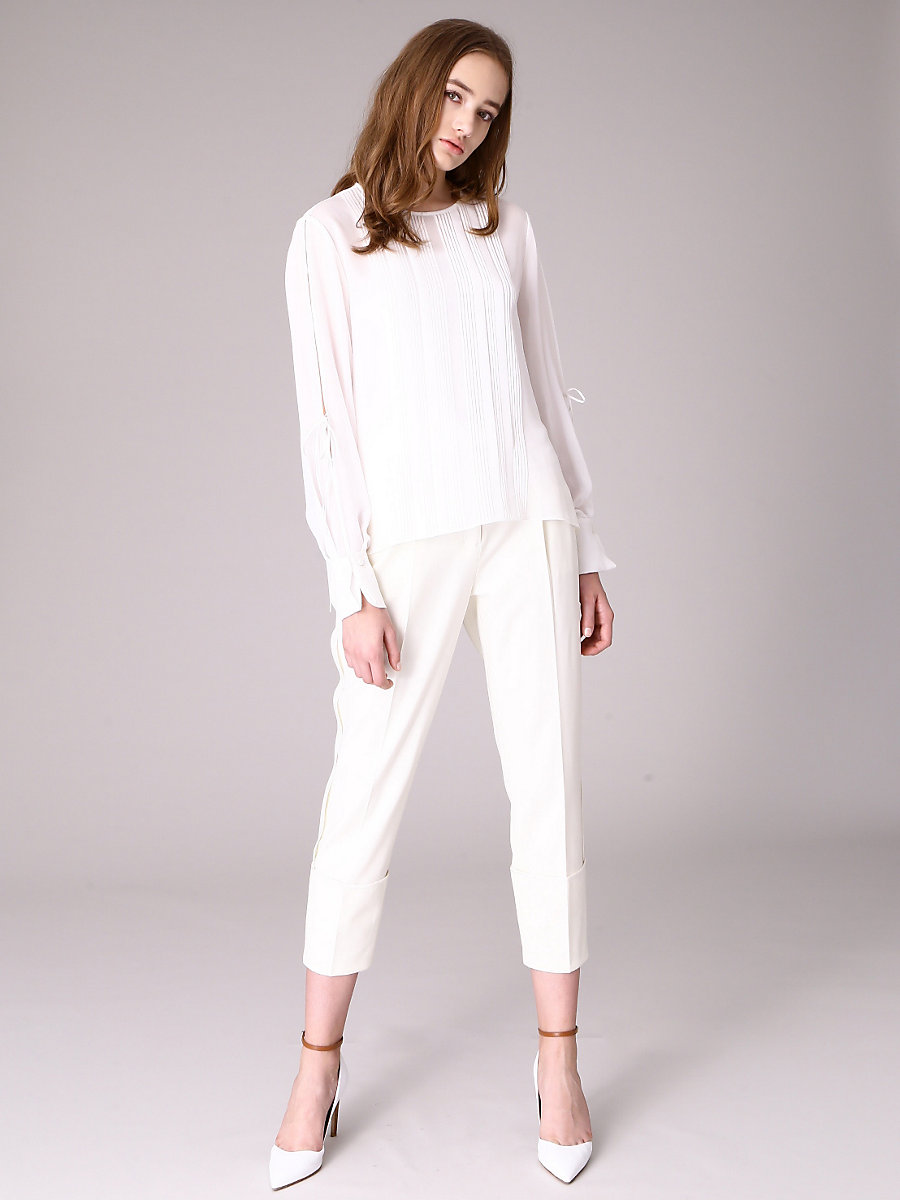 Pin Tuck Blouse in White by DVF