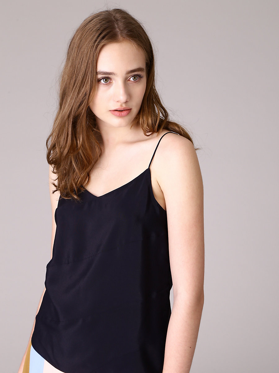Border Camisole Blouse in Black by DVF