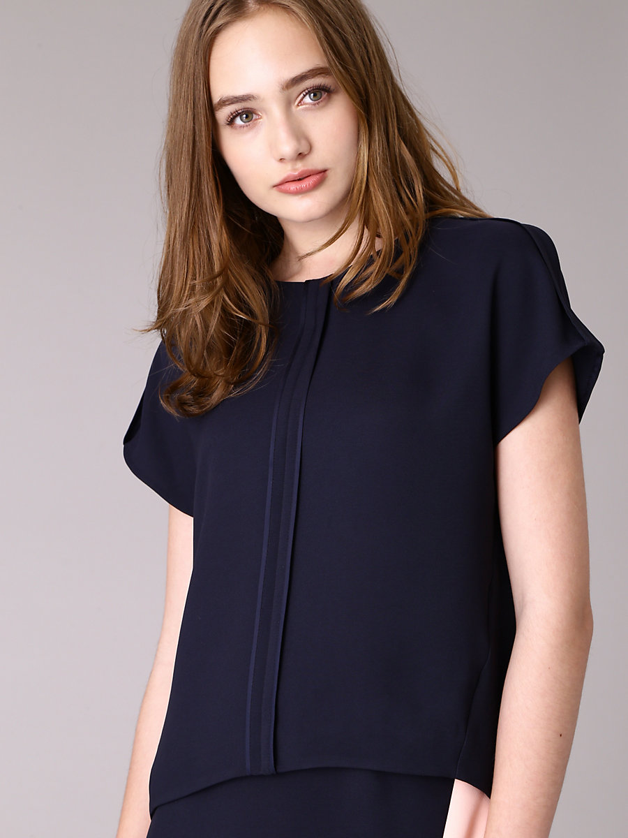 Half Sleeve Blouse in Navy by DVF