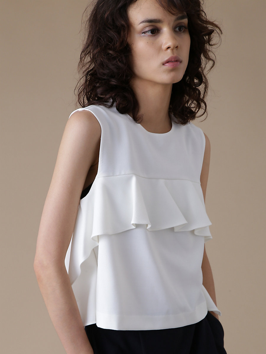 Ruffle Frill Blouse in White by DVF
