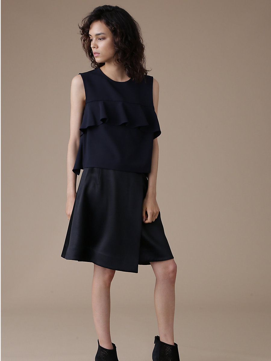 Ruffle Frill Blouse in Navy by DVF