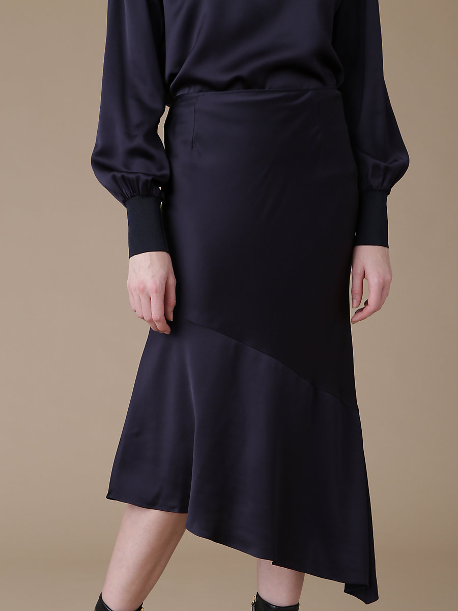 Asymmetric Skirt in Navy by DVF