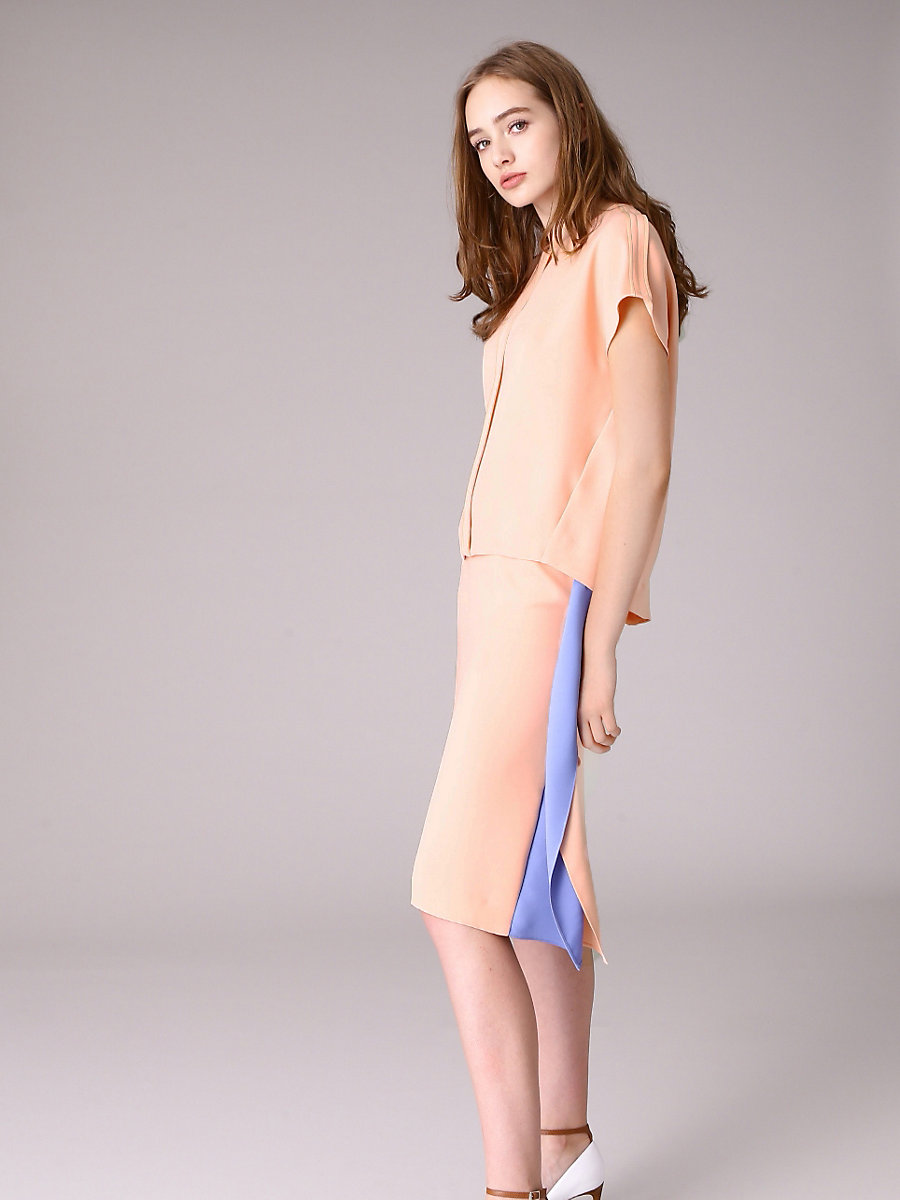 Side Drape Tight Skirt in Pink by DVF
