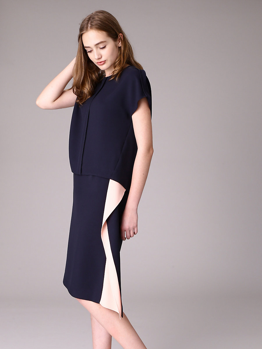 Side Drape Tight Skirt in Navy by DVF