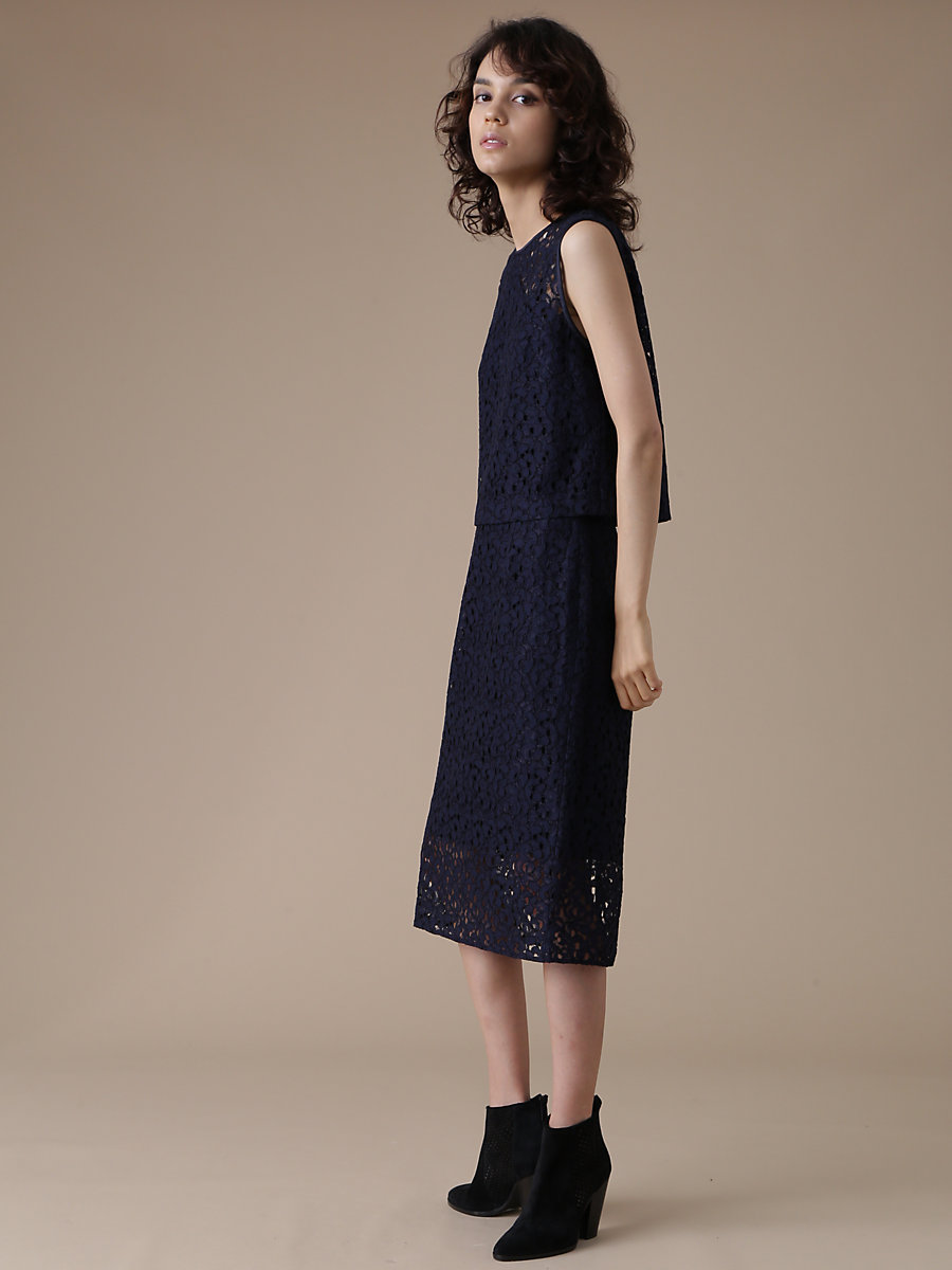Lace Tight Skirt in Navy by DVF