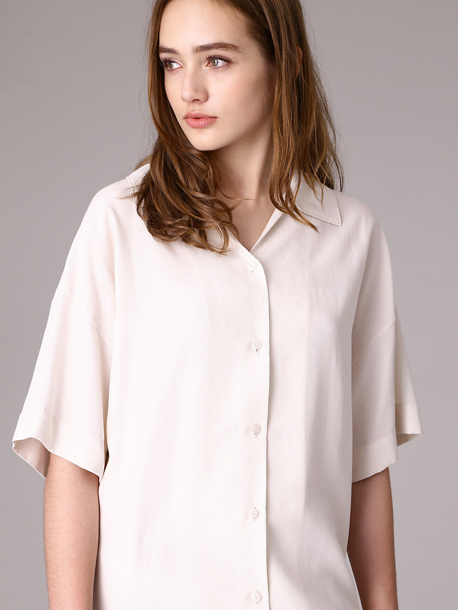 Shirt Dress in White by DVF