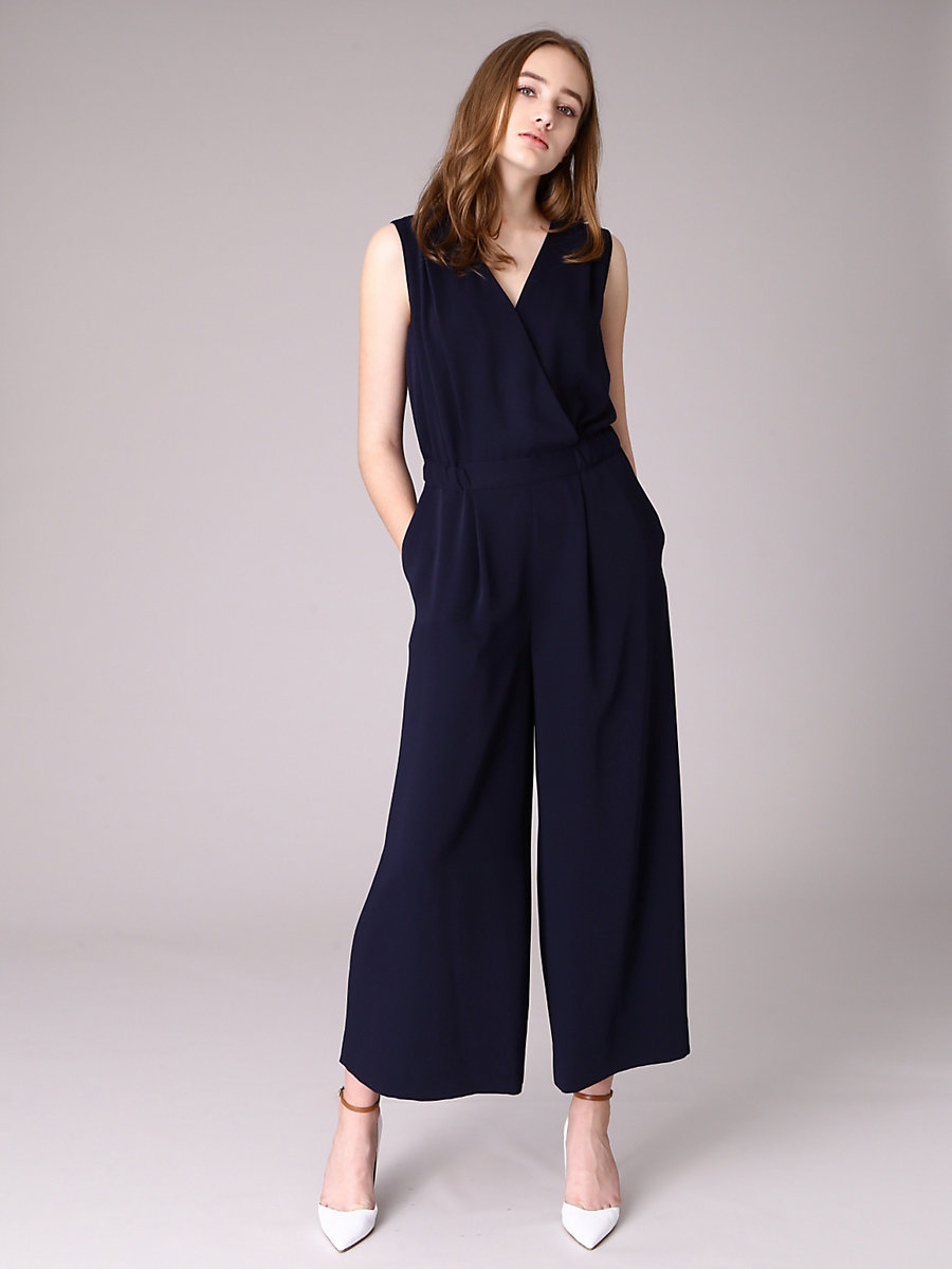Wrap Jumpsuit in Navy by DVF