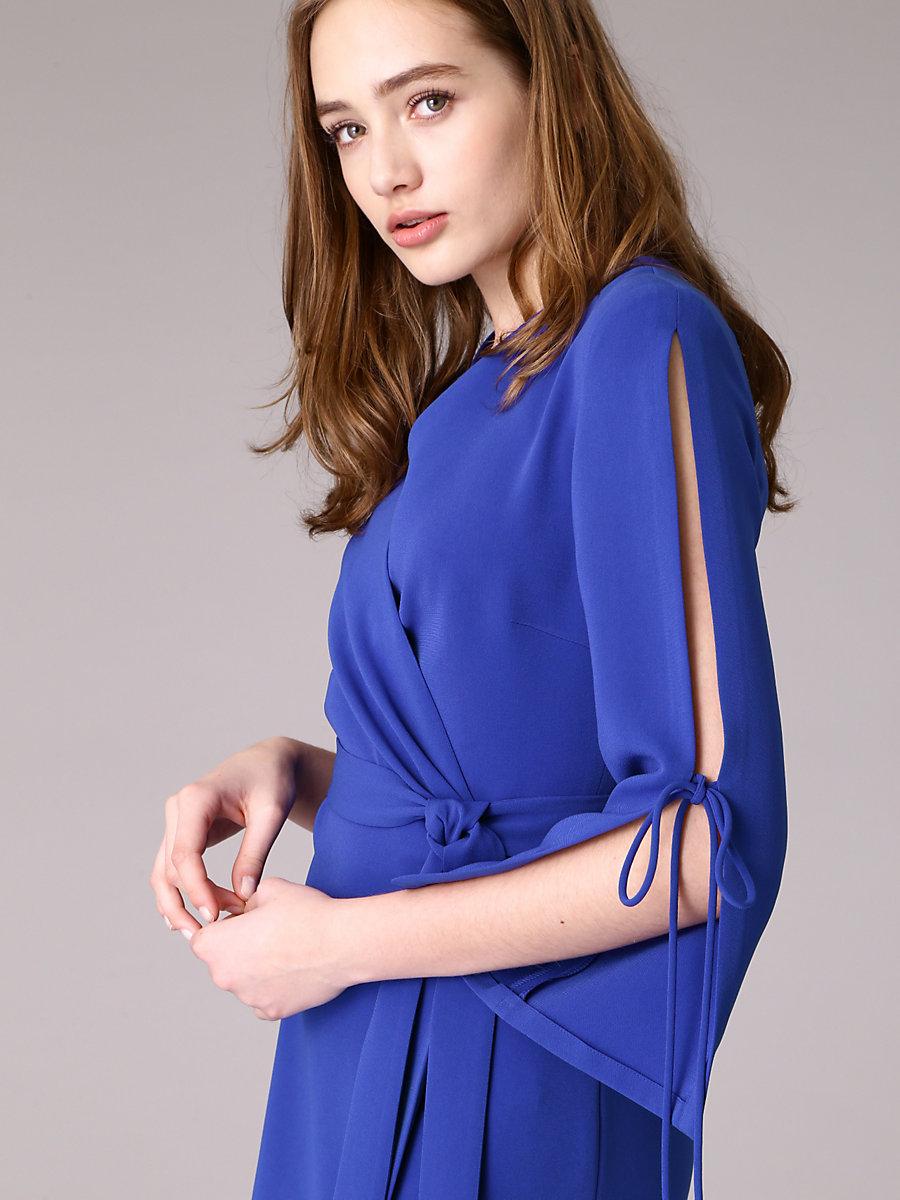 Sleeve Slit Wrap Dress in Blue by DVF