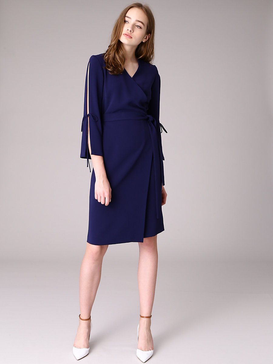 Sleeve Slit Wrap Dress in Navy by DVF