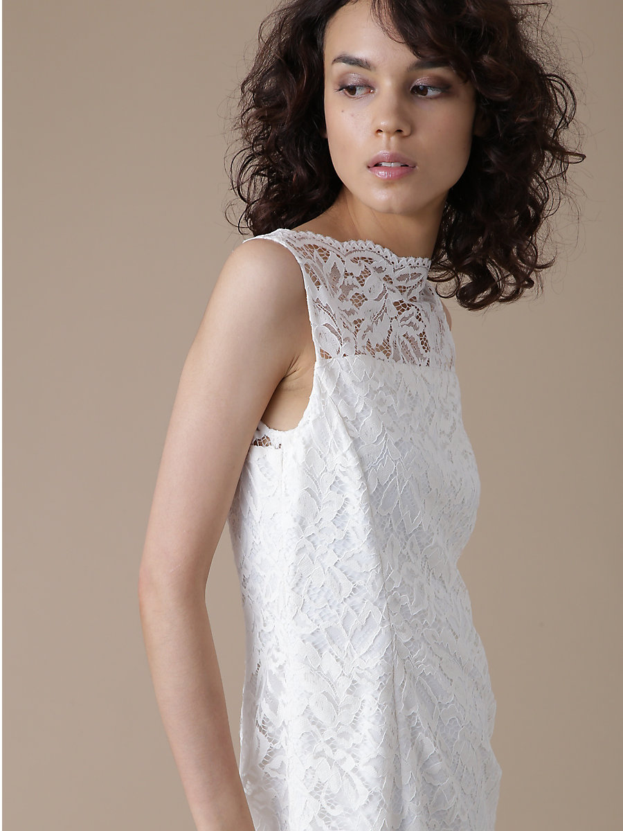 Flower Lace Dress in White by DVF