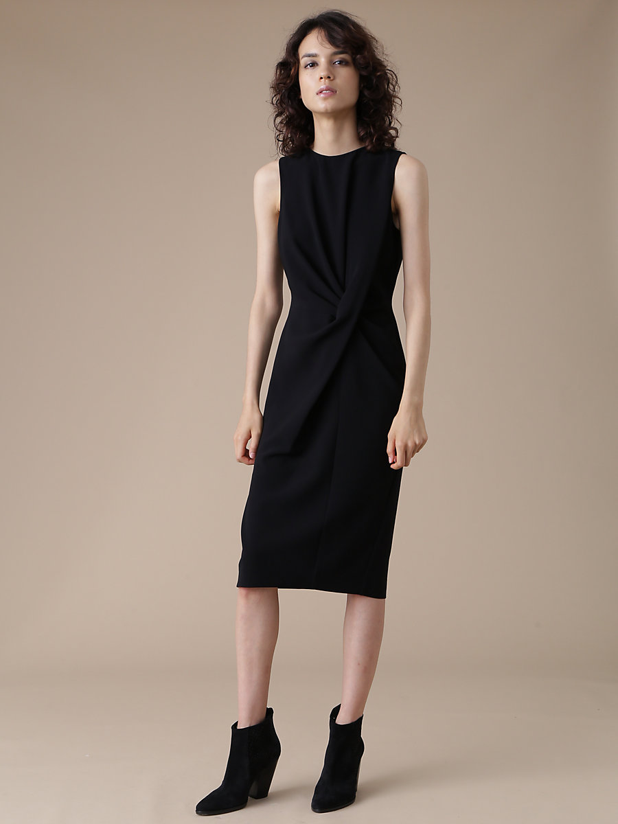 Drape Gather Dress in Black by DVF