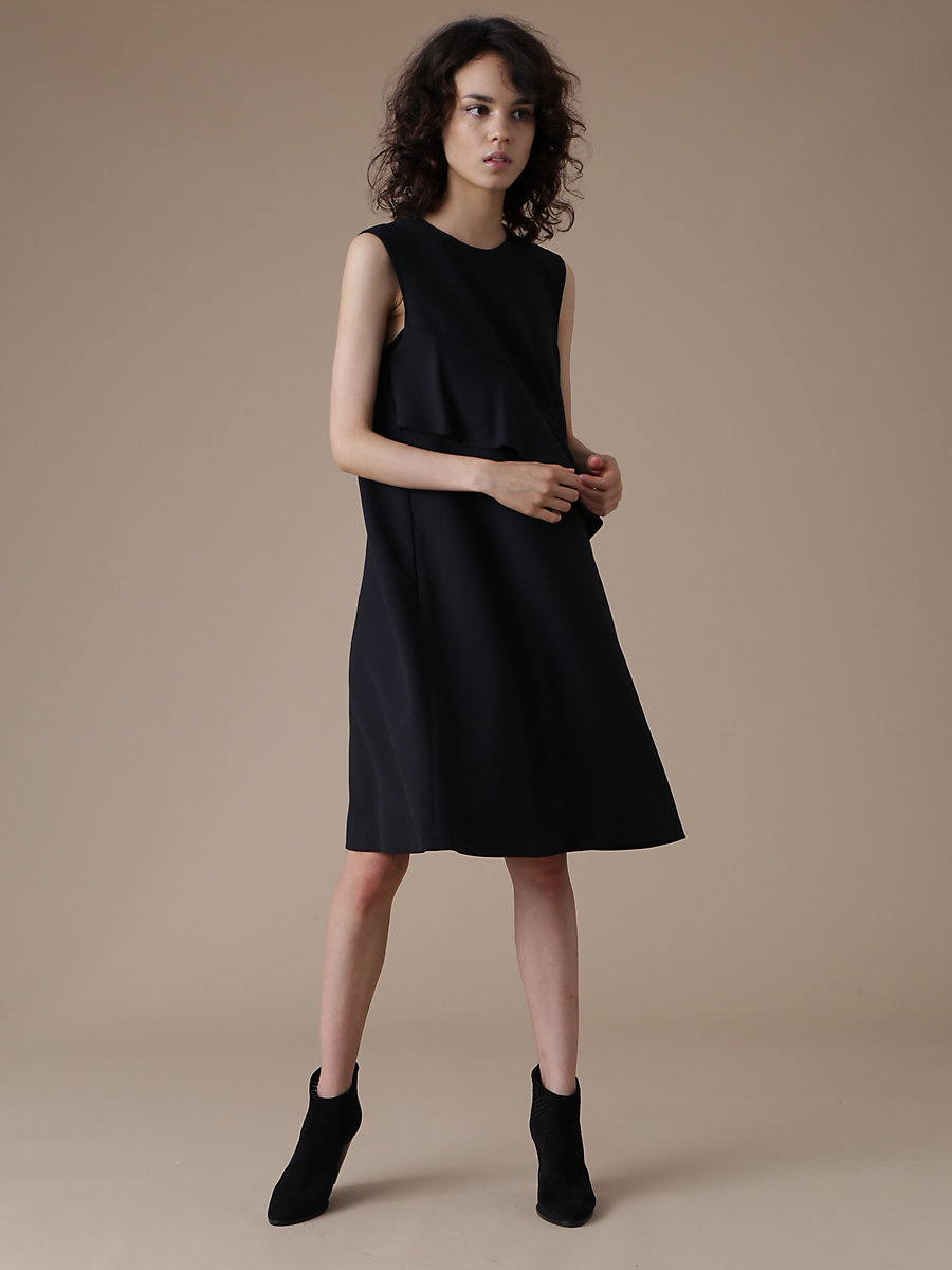 Ruffle Frill Dress in Black by DVF