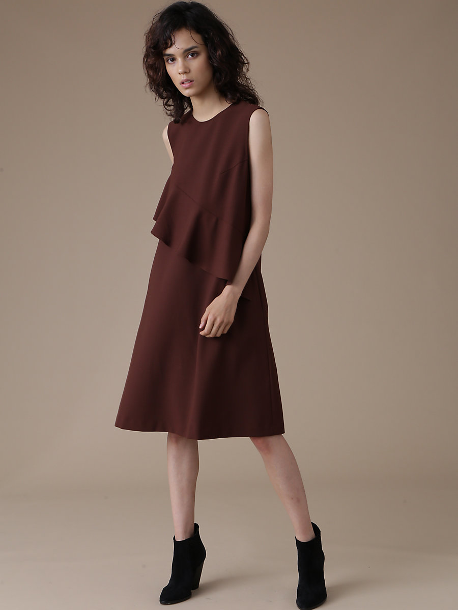 Ruffle Frill Dress in Brown by DVF
