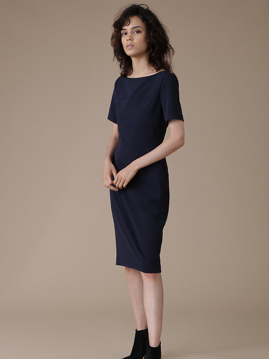 Half Sleeve Dress in Navy by DVF