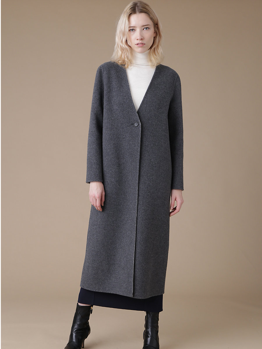 Cashmire Double Face Coat in Grey by DVF