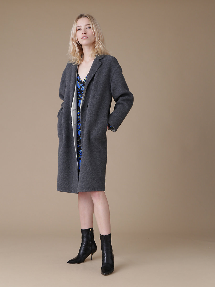 Oversize Double Face Wool Coat in Grey by DVF