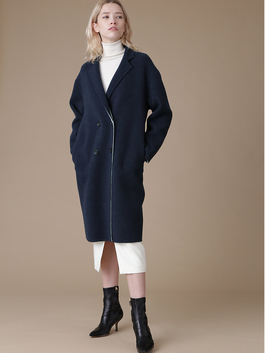 Oversize Double Face Wool Coat in Navy by DVF