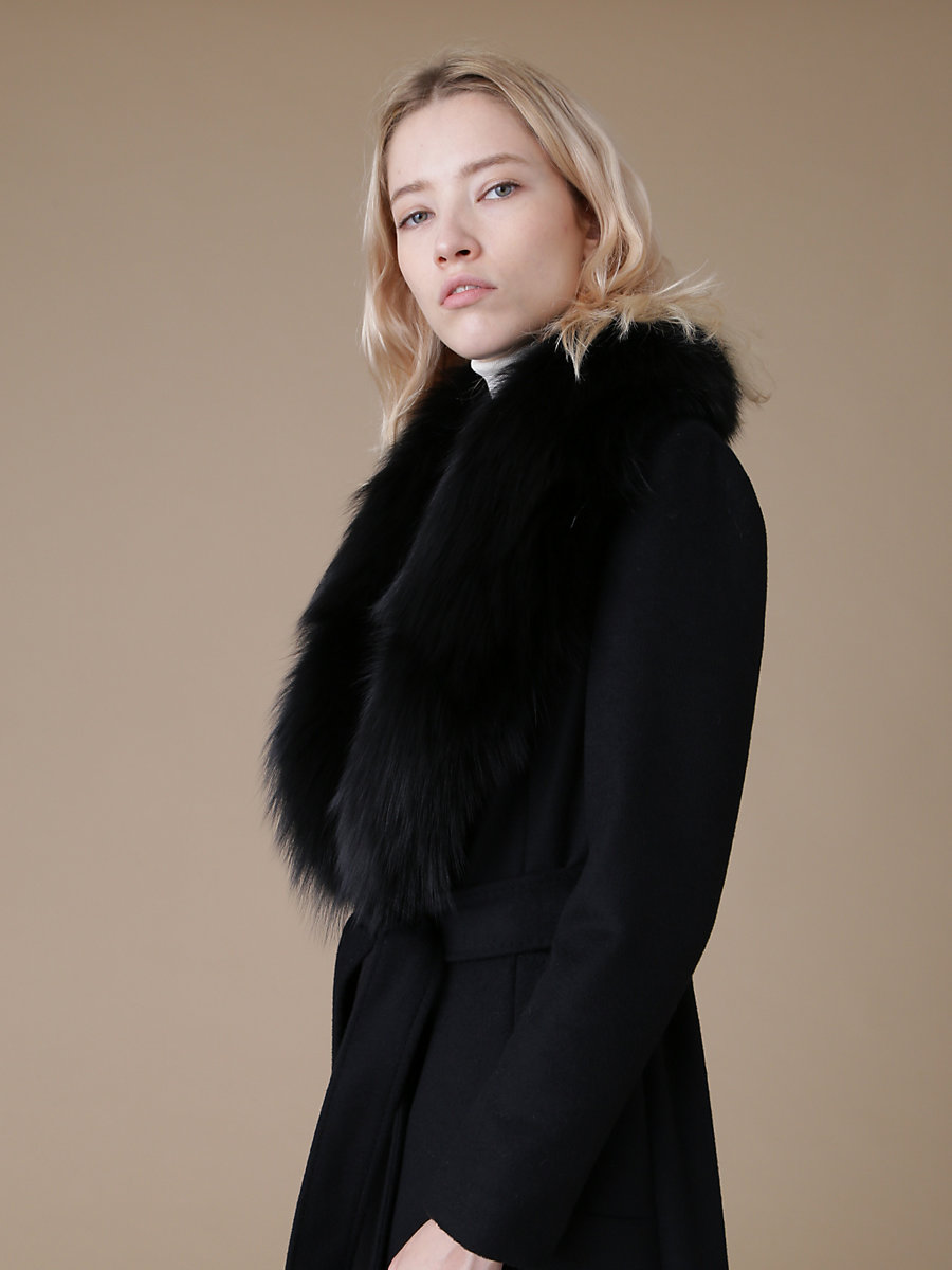 Fox Fur Collar Coat in Black by DVF