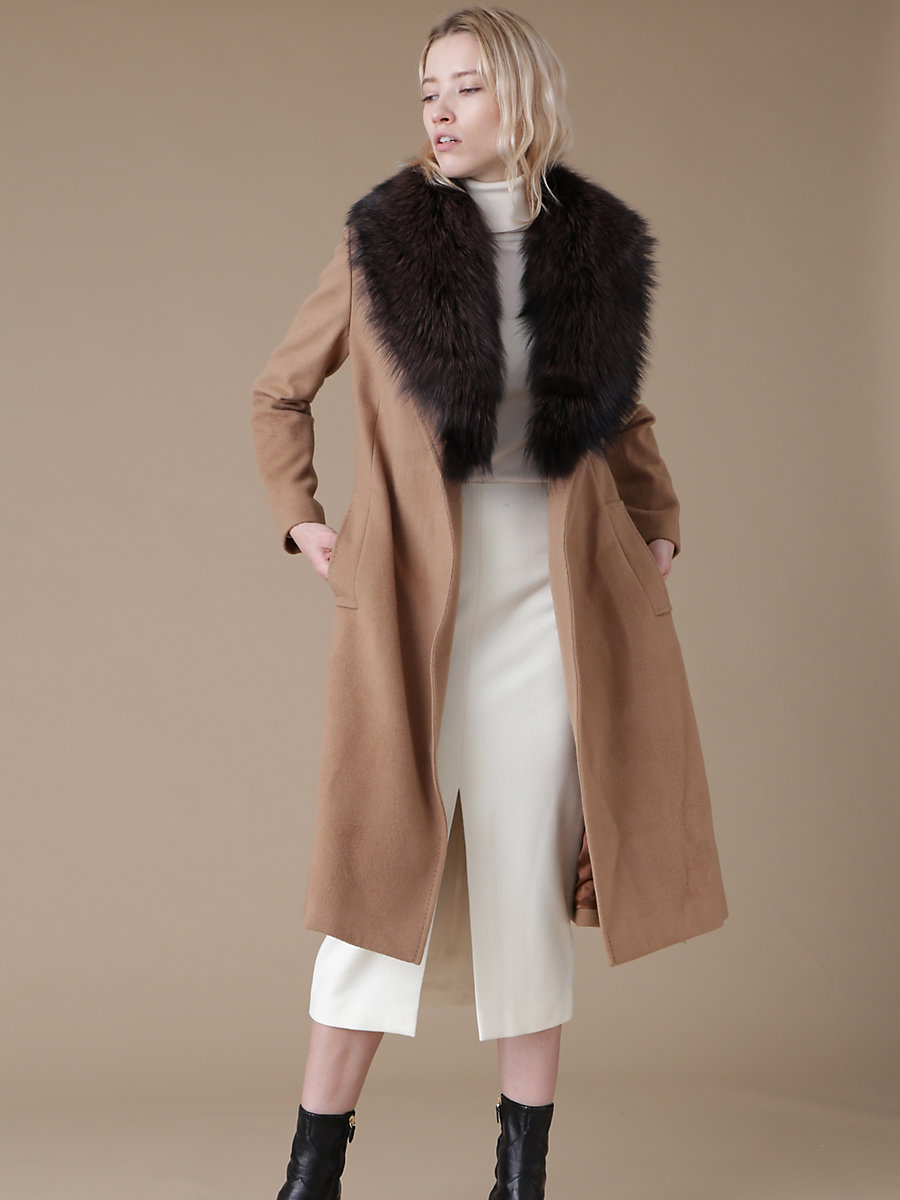 Fox Fur Collar Coat in Brown by DVF