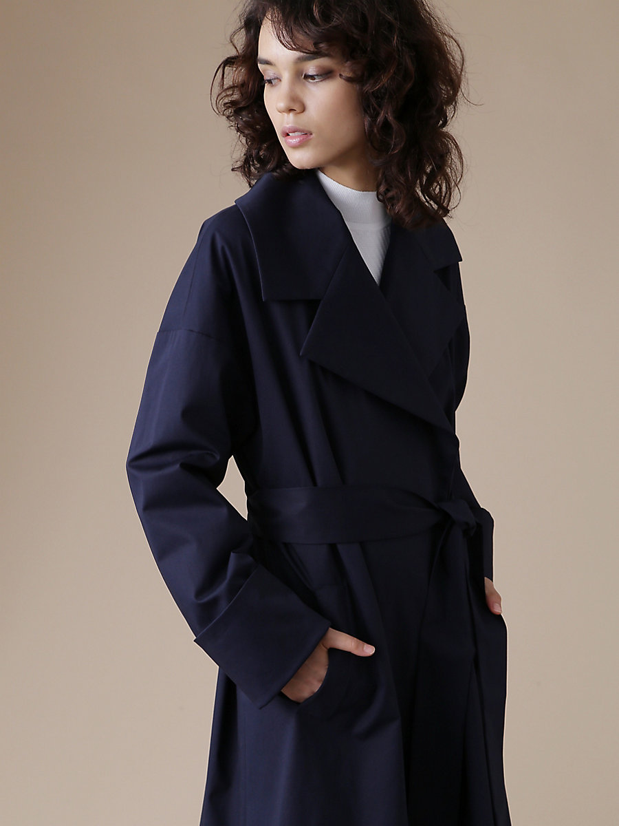 Gown Coat in Navy by DVF