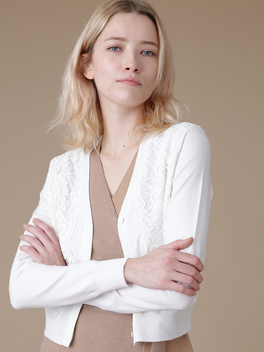 Lace Cardigan in White by DVF