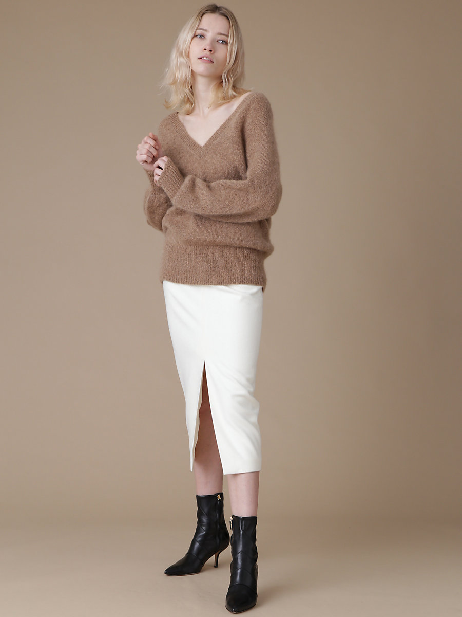 Mohair V neck Knit in Brown by DVF