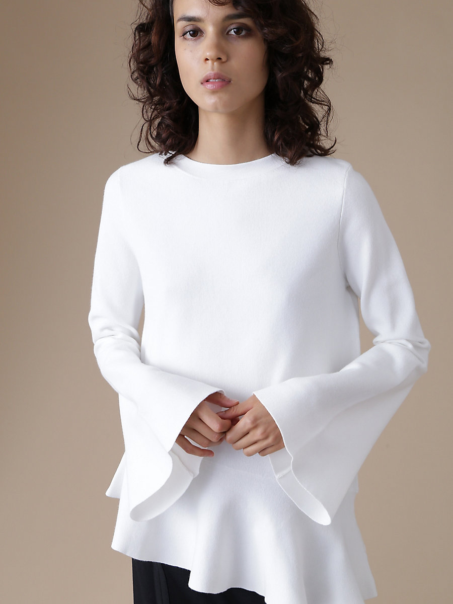Peplum Pull Over in White by DVF