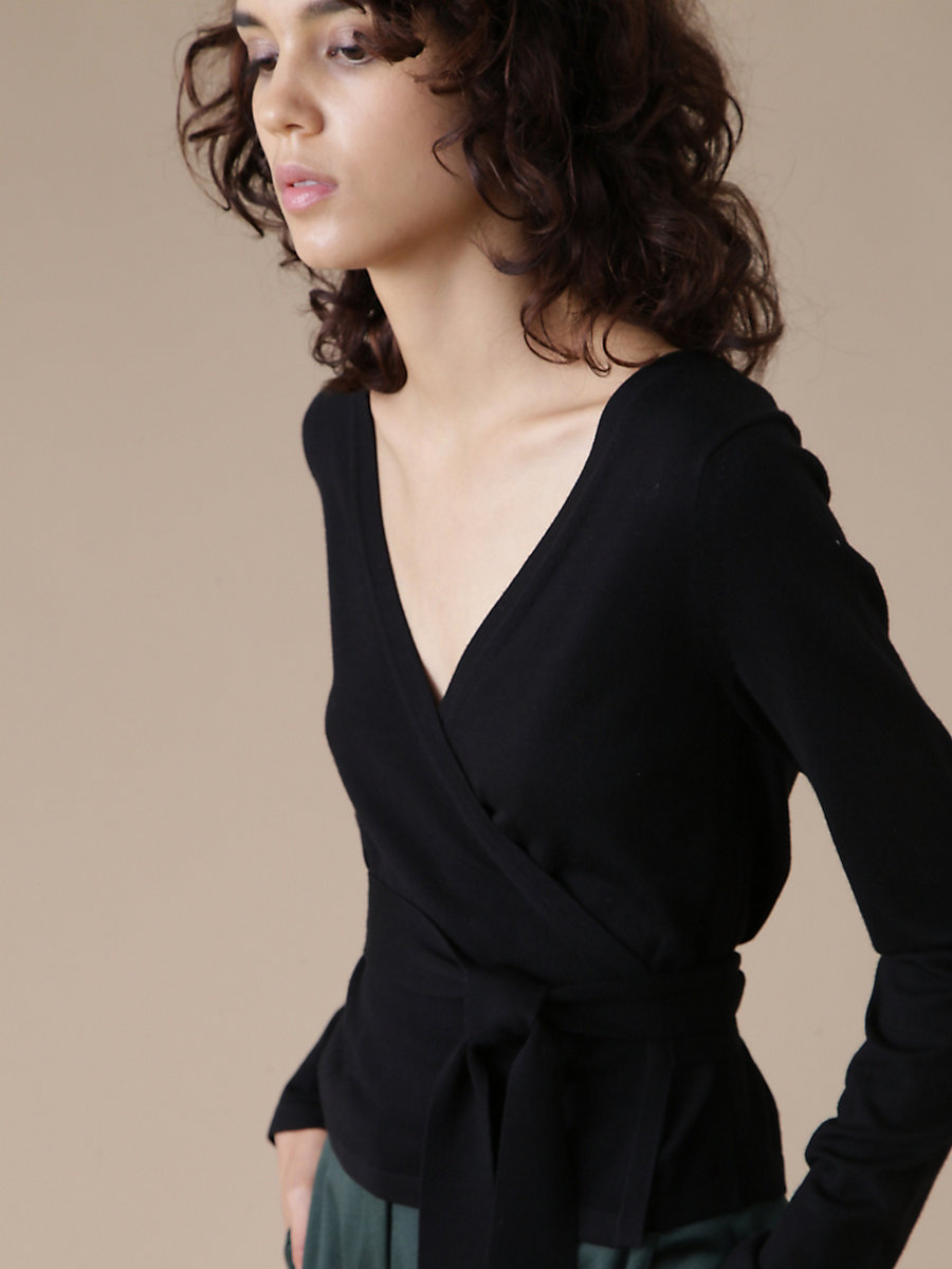 Wrap Knit Top in Black by DVF