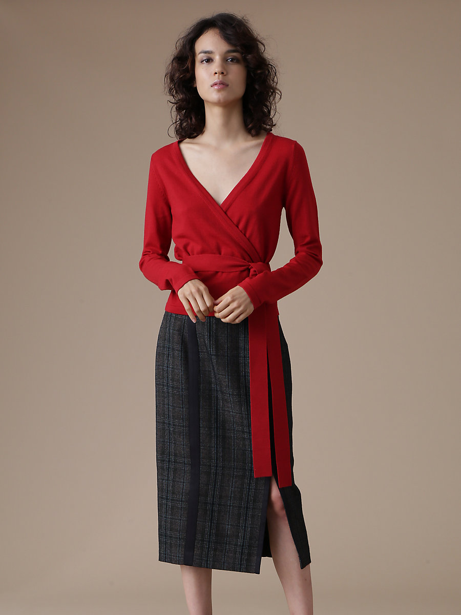 Wrap Knit Top in Red by DVF