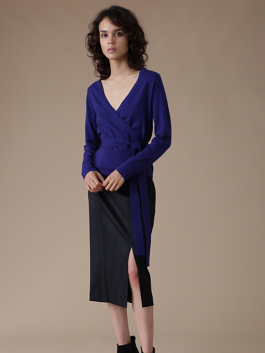 Wrap Knit Top in Blue by DVF