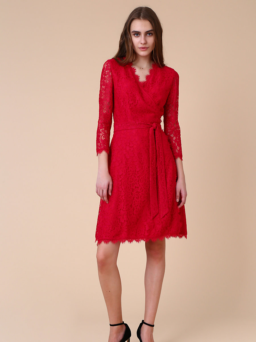 Lace Wrap Dress in Pink by DVF