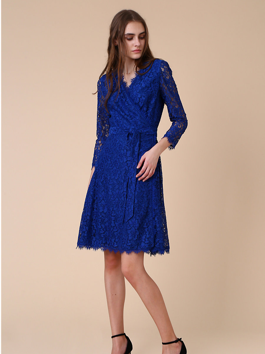 Lace Wrap Dress in Blue by DVF