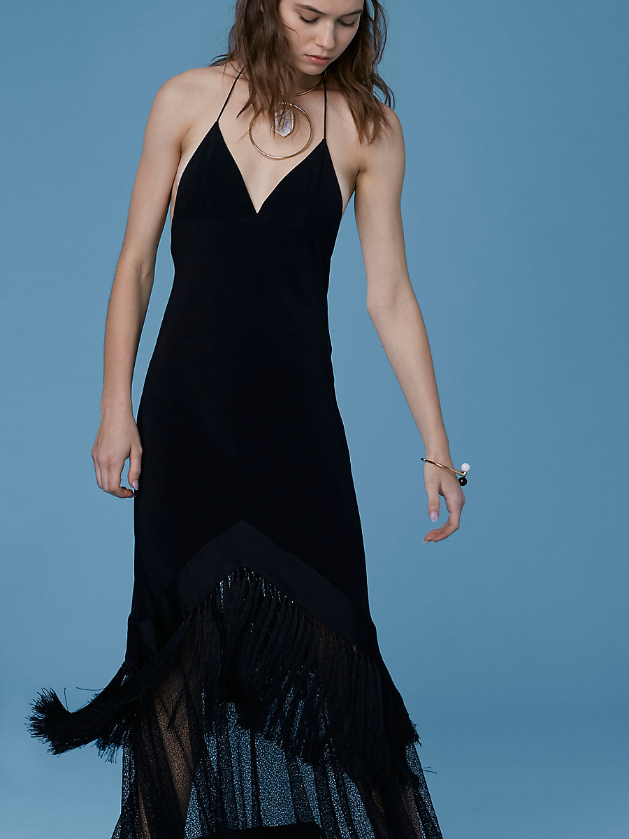 Cut-Out Fringe Dress in Black by DVF