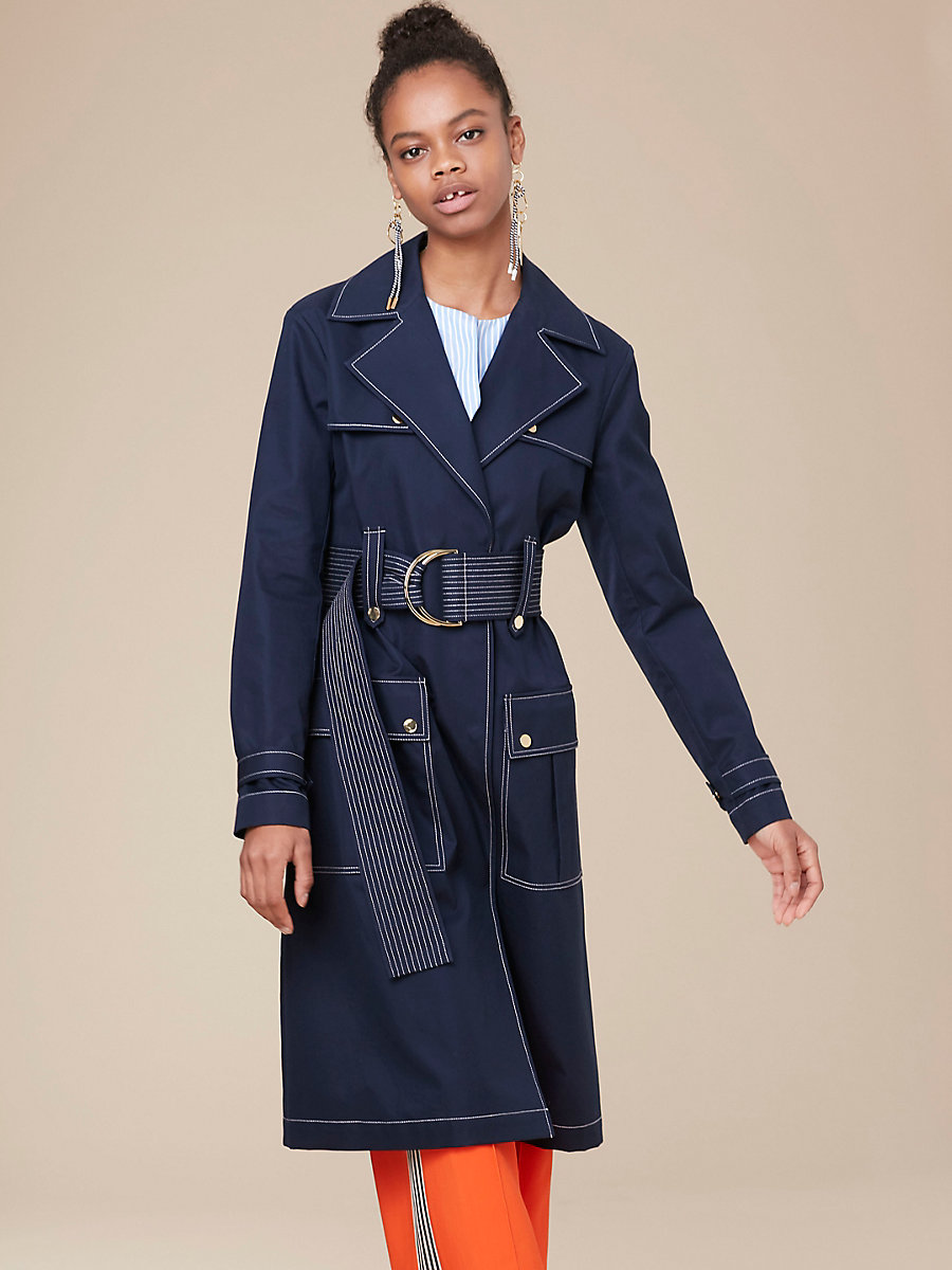 Belted Trench Coat in Alexander Navy by DVF