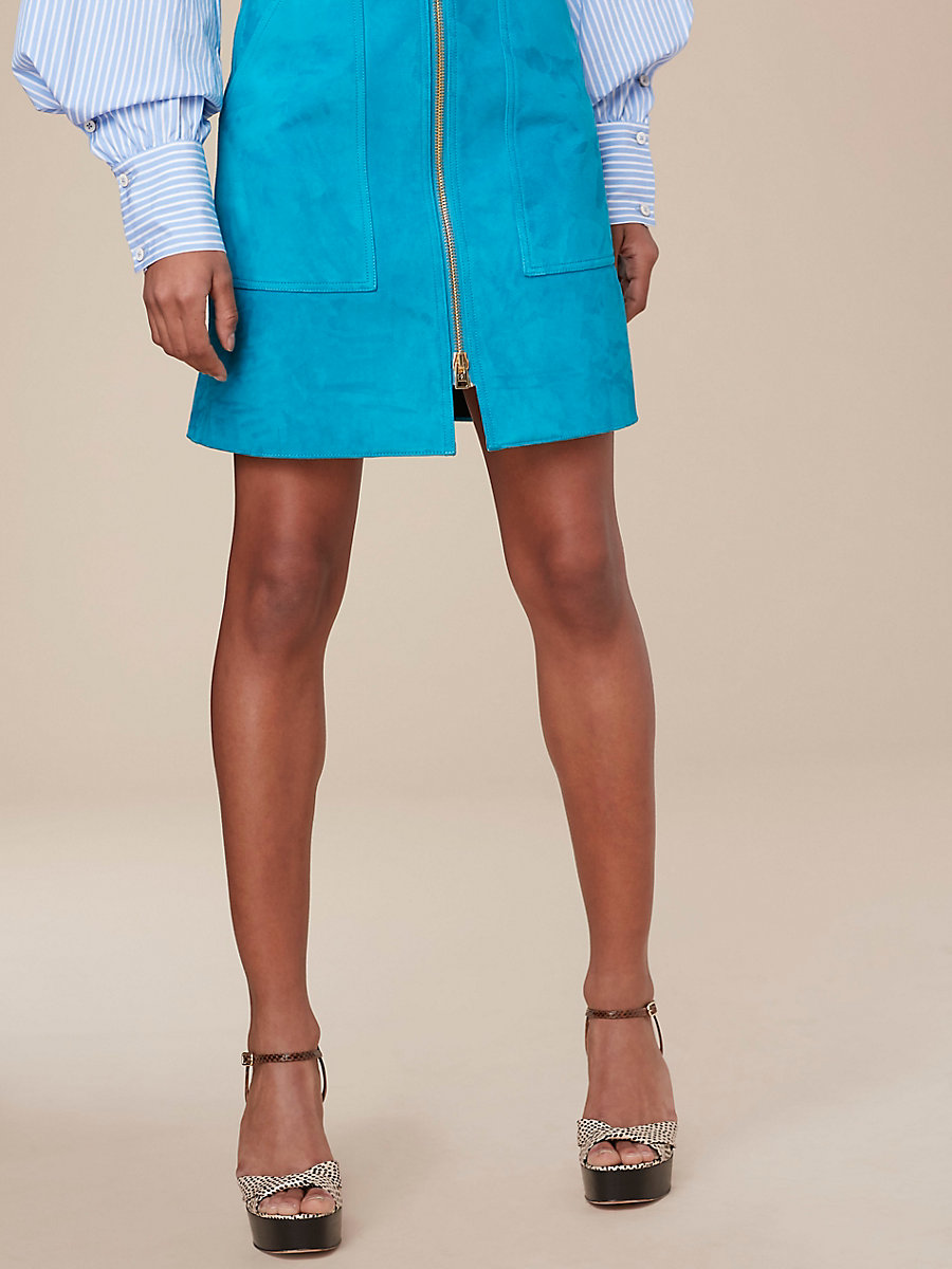 Suede Patch Pocket Mini Skirt in Teal by DVF