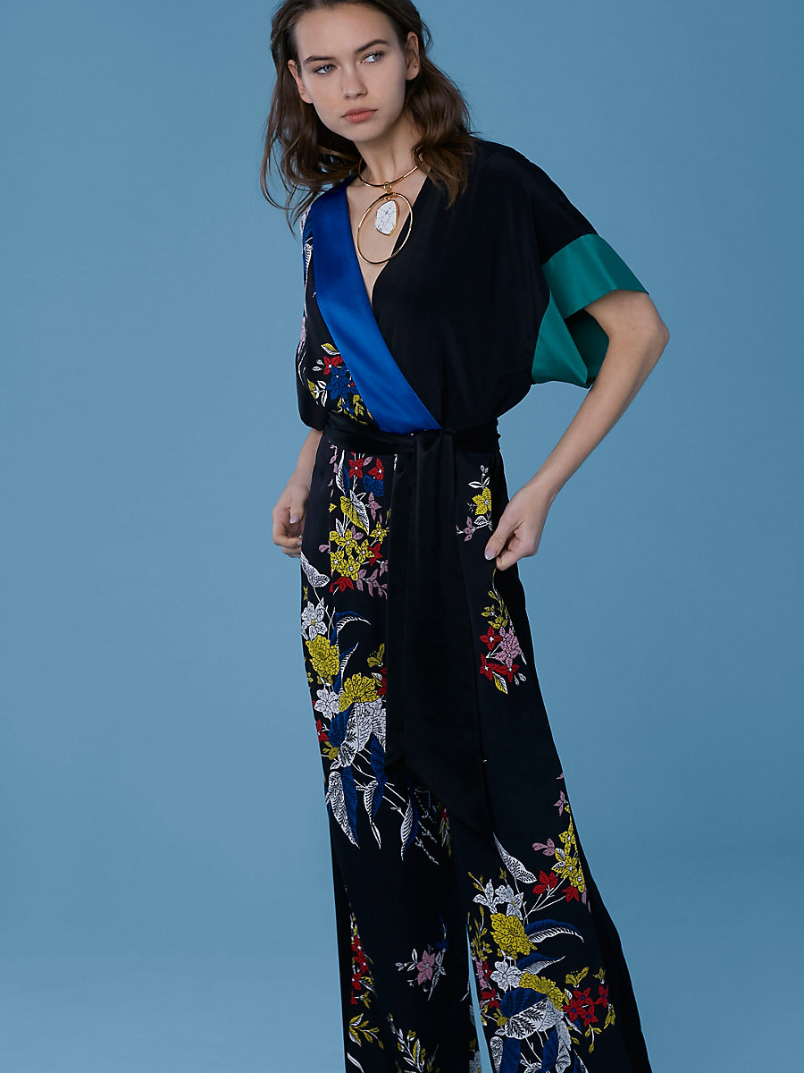 Short-Sleeve Wrap-Style Jumpsuit in Camden Black Multi by DVF